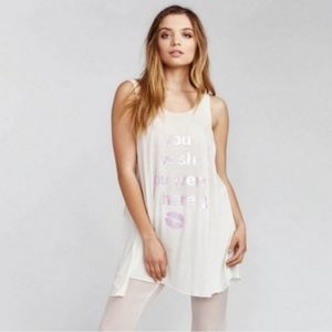 Wildfox white pink oversized wrecked tank top